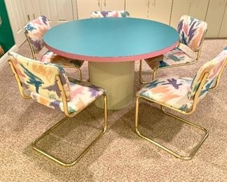 """$250. Custom made, vintage forica solid surface round, 48"""" pedestal table. Pink and Teal!  Chairs has some marks on fabric - $50/each."""