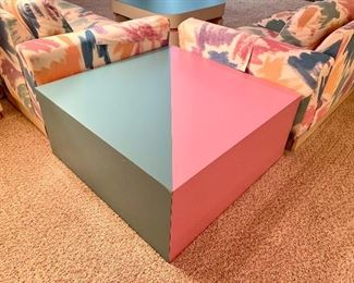 $300. Custom Formica solid surface side/coffee table. 36x36x16. Pink and teal! YES!