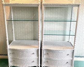 $200/each. White wicker storage shelves by Lexington. Excellent condition! *We are looking for the missing glass shelf on the left unit. 32x19x70