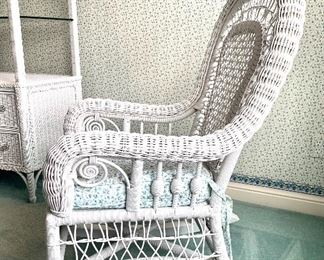 $150. White wicker rocker, cushion included. Comfy and  Excellent condition! 27x22x44.