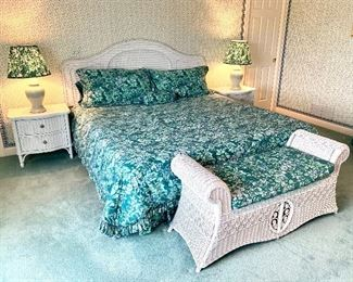White wicker bedroom suite by Lexington. Excellent condition! PAIR of nightstands: $150, 24x18x23. KING headboard $200, 80 x 57. BENCH $150, cushion included 52x18x24.