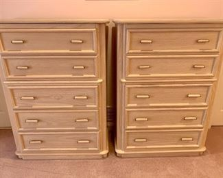 """$250/each. Vintage high boy chests by Broyhill; color is a pale pink vs how they appear in this image. Excellent condition. 56""""H."""