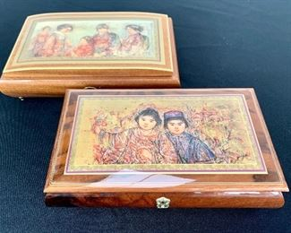 $60 for the PAIR of hand crafted music boxes. Excellent condition!