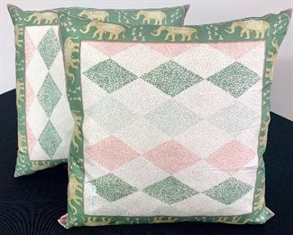 $30. PAIR of silk covered, vintage throw pillows. These are darling and dainty! Great condition.