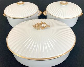 $80 for the 7 piece SET of Shafford Oven to Tableware. Set includes 3 lids, 3 casseroles and 2 inserts.  On-trend white and gold color. Great condition!