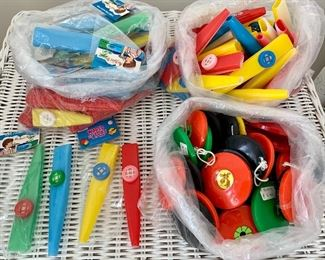LOT of vintage kazoos and plastic castanets. $60