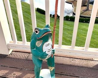 She is too cute! Hand-painted wooden frog statuary. $150.