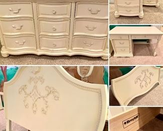 $1000. 11 Piece bedroom suite by Broyhill. Set includes FULL headboard/footboard, 2 nightstands, high boy dresser, full size dresser, writing desk, chair.  We will upload the additional pieces ASAP! Willing to sell by the piece-