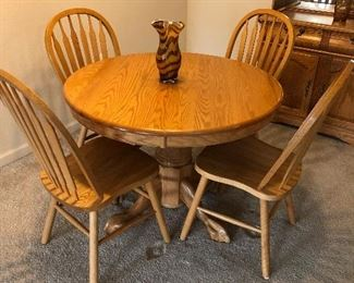 OAK ROUND KITCHEN TABLE WITH 4 CHAIRS