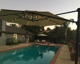 Solar Patio Umbrellas, planters