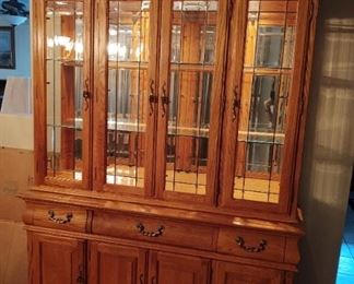 Solid Oak Hutch with matching dining table with chairs