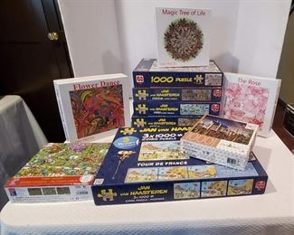 1,000 Piece Jigsaw Puzzles, 10 Boxes Including Jan VanHaasteren