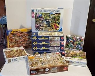 An Assortment of Jigsaw Puzzles, 10 Boxes 1,000 Pieces