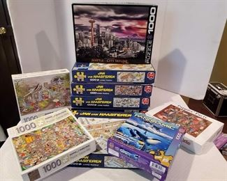 10 Boxes of 1,000 Pc. Jigsaw Puzzles, Seattle Skyline and More