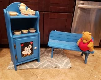 kids vintage toys and benches, hand made