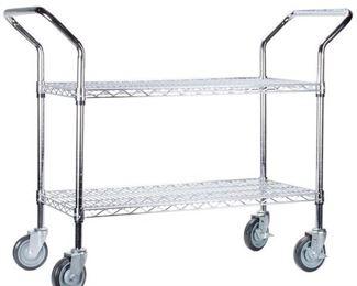 Regency Two Shelf Chrome Heavy Duty Utility Cart And Trash Can