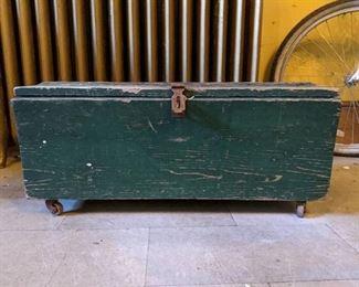Antique Green Wooden Trunk