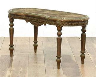 Vintage Curved Cane Top Table With Accent Scrolls