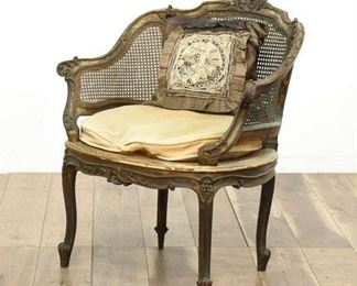 Vintage Cane-Back Chair With Matching White Cushion