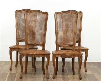 Set Of 4 Matching Brown Cane-Back Dining Chairs