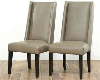 Pair Of Modern Grey High-Back Accent Leather Chairs