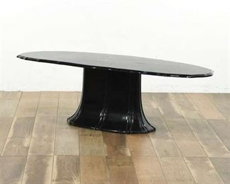 Resin Oval Black Statement Coffee Table