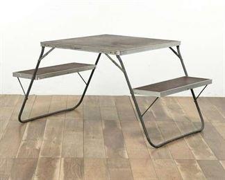 Dark Brown Folding Metallic Camping Table