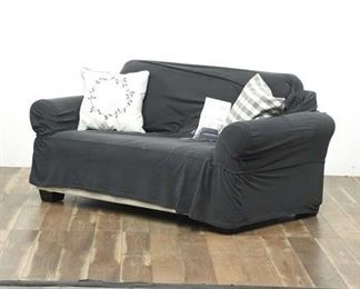Love Seat With Grey Slip Cover And 2 Cushions