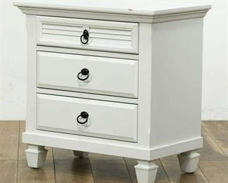 Small White Nightstand Or End Table With 3 Drawers