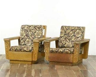 Pair Of Hawaiian Koa Wood Floral Club Chairs
