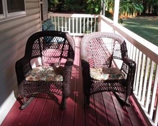 2 Brown Resin Wicker Rocking Chairs
