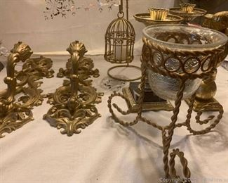 Assortment of Gold Guilded Candle Holders