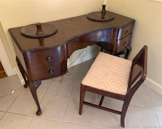 Antique Serpentine Vanity With Lazy Susan Attachments