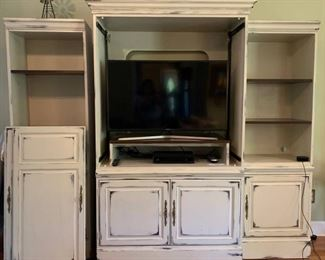 Chalk Painted Farmhouse Wooden Thomson Crown Entertainment Center