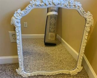 Decorative Floral Carved Wooden Wall Mirror