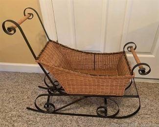 Decorative Iron Framed Wicker Sleigh Basket