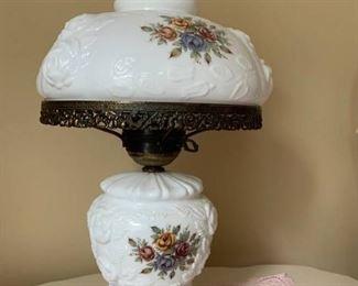 Fenton Milk Glass Lamp Hurricane