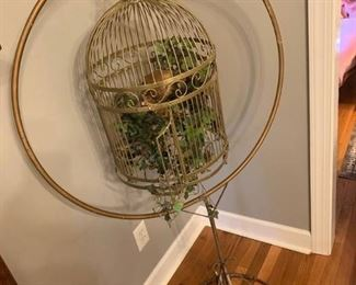 Hanging Bird Cage with Decorative Stand
