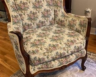 Handcarved Walnut Frame Upholstered Victorian Wingback Arm Chair