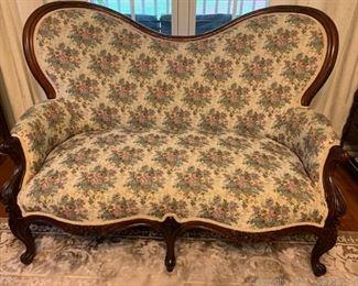 Handcarved Walnut Frame Upholstered Victorian Love Seat