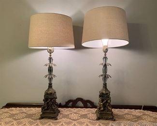Hollow Bronze Putti Pedistal Oversized Table Lamp