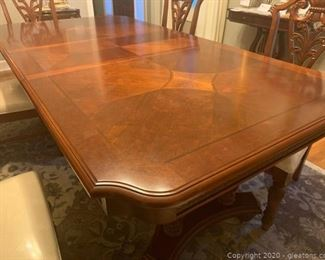 Inlayed Mahogany Acanthus Detailed Dining Table