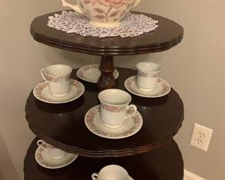 Mulberry Teapot and Chinese Teacups with Matching Saucers