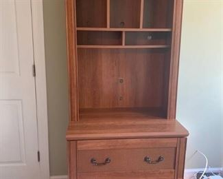 Oak Filing Cabinet with Attached Hutch