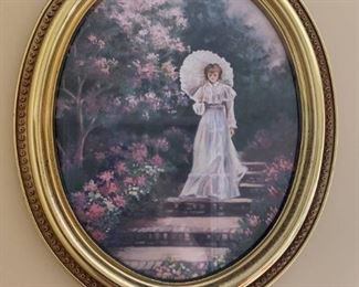 Oval Print of Elegant Victorian Women Walking