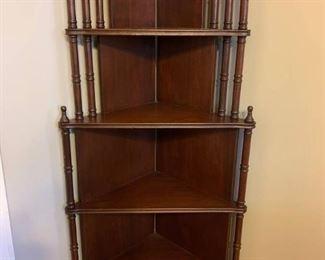 Two Tiered Espresso Corner Display Shelf