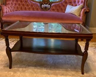 Two Tiered Mahogany Rimmed Coffee Table