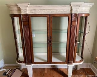Victorian Style Conrinthain Column Curved Curio Cabinet