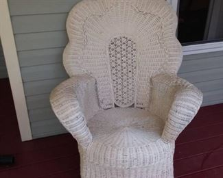 Vintage Victorian Fan Back with Wicker Chair