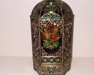 Vintage Ornate Sankyo Bird Cage Music Box